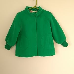 H&M baby turquoise green elegant long sleeve peacoat size 12-18 months